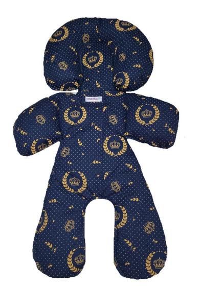 Redutor Bebê Conforto Acolchoado Azul Marinho Coroas Dourada