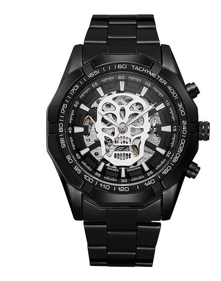 Relógio Masc Winner 0651 Skull Aço Automático Preto Fd Prata