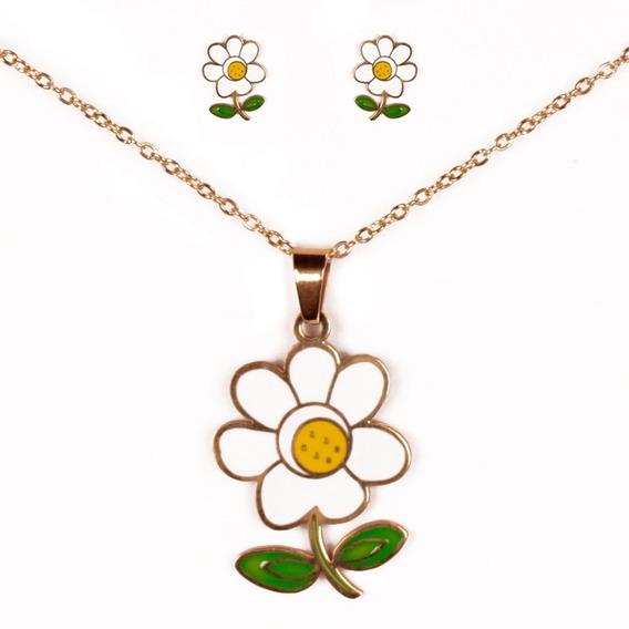 Cadena Collar De Flor Con Aretes De Acero Inoxidable