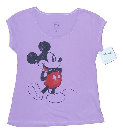 Disney Playera Mujer Color Lila Con Mickey Mouse Vintage M