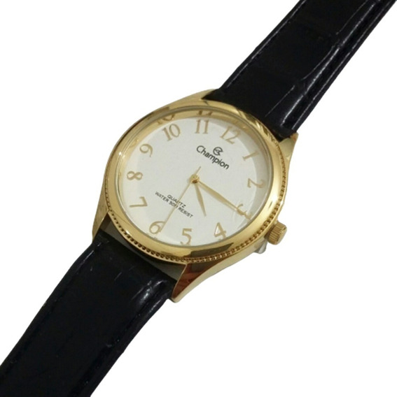 Relógio Masculino Champion Dourado Pulseira Couro Original