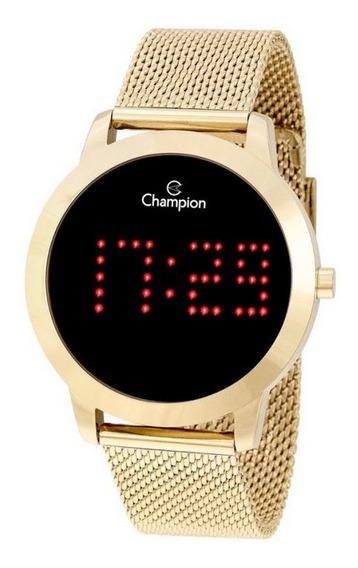 Relógio Champion Dourado Digital Led Vermelho Ch40017v