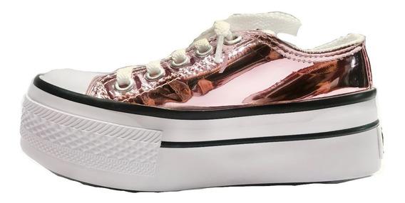 Zapatillas Tipo Converse Metalizadas Nena Plataforma Promo