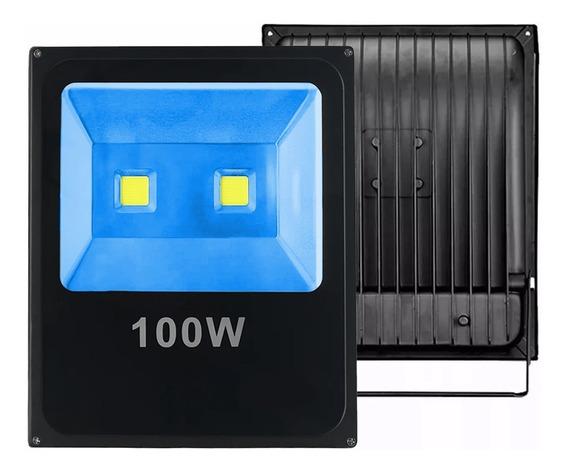 Kit 8 Refletor Holofote Led 100w Azul Bivolt A Prova Dagua