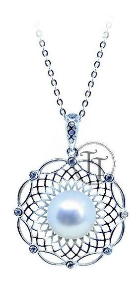 Collar Perla Natural 10 Mm Plata Esterlina 925 Sun