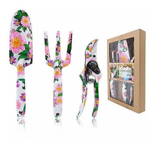 Herramientas De Jardin Floral Hortem 3pcs Para Mujeres, Jueg