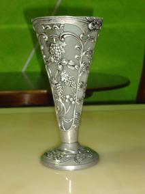 Vaso De Metal Judaico Com Vidro Fosco Valor Do Par Antigo