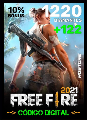 Imagem 1 de 9 de Free Fire 1220 Diamantes + 122 Bônus (1342) Recarga P/ Conta