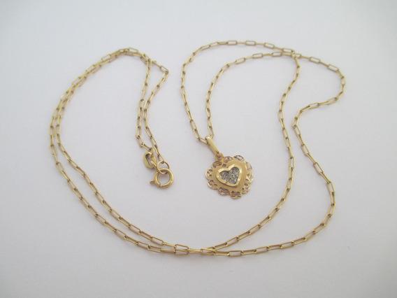 Tradicional Corrente E Coração Em Ouro 18k - 3.7 Gr - 61 Cm