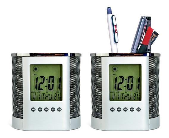 Porta Canetas Com Data Hora E Termômetro Display Colorido