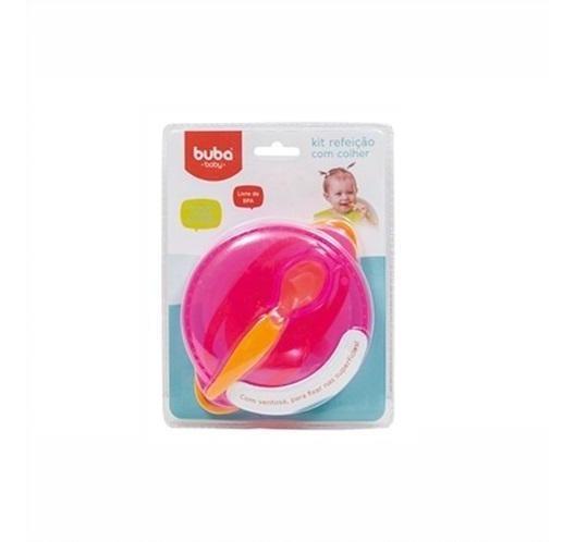 5803 - Kit Refeição Com Colher Buba Toys Rosa.