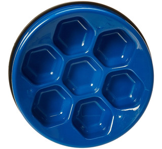 Plato Para Comer Lento Grande Para Perros Color Azul Oferta