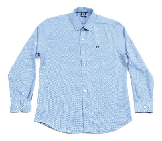 Camisa Caballero Manga Larga De Vestir Azul Claro Hang Ten