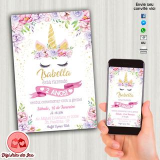 Convite Digital - Unicórnio - Personalizado #08