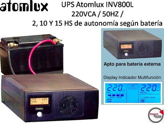 Ups Atomlux Inv800l / 220vca / 50hz / Apto P/batería Externa