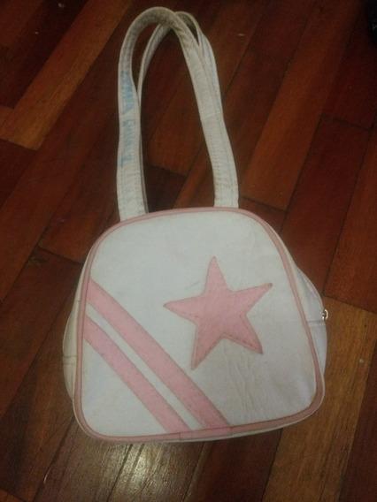 Cartera Chiquita Nena Tiras Cortas Simi Cuero Blanca Estrel