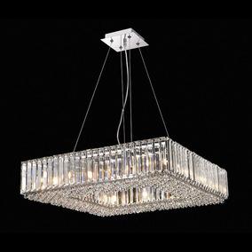 Lustre Pendente Quadrado 60x60cm Em Cristal Translúcido +luz