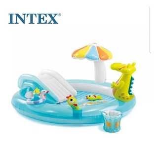 Piscina Intex Playground Escorregador+ Inflador+bolinhas