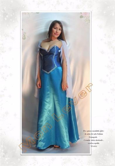 Vestido Largo Tres Piezas Falda ,top Y Chalina