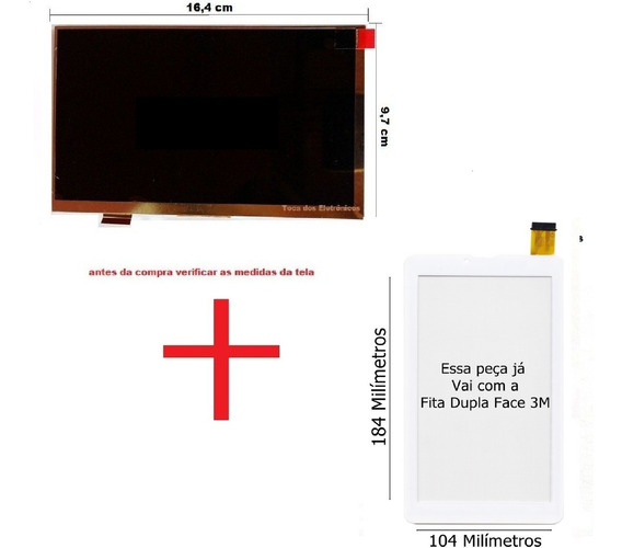 Display + Touch Lcd Tablet Semp Toshiba 0709g Ta0709g Branco