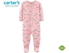 Macacão Carters Pijama Menina Unicórnio Rosa Poliéster