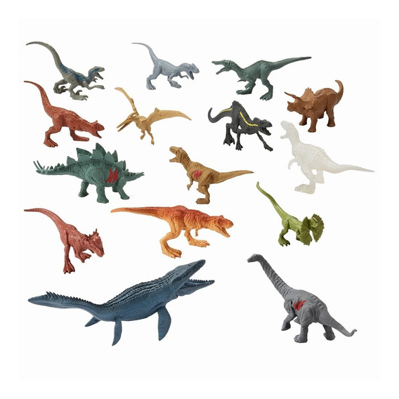 Jurassic World - Conjunto Mini Dinossauros Com 15 Fpx90