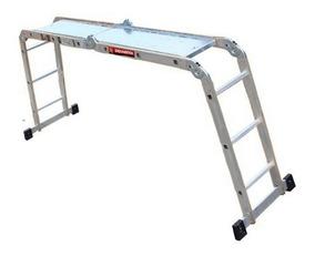 Escalera Multiposiciones 12 Peldaños Aluminio 3.5mts Charola