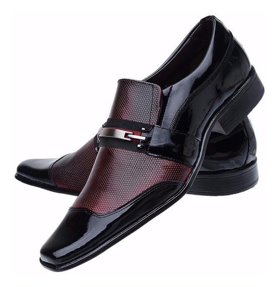 Sapato Social Masculino Couro Verniz Vinho Luxo Sofisticado