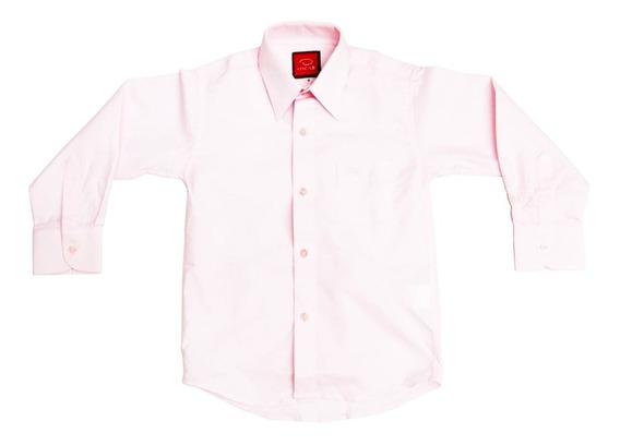 Camisa Manga Larga De Vestir Marca Oscar Niños Rosa Pastel