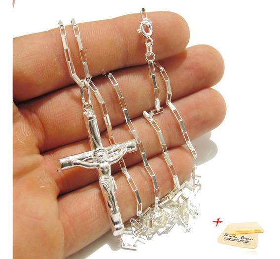 Corrente Cordão 70cm Masculino + Crucifixo Prata 925