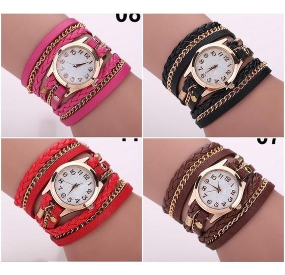 Relógio Feminino Casual E Fashion Com Pulseiras De Couro