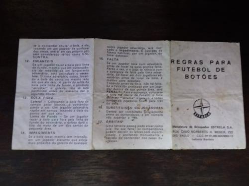 Regra De Futebol Botão Mesa Estrela Original Anos 70