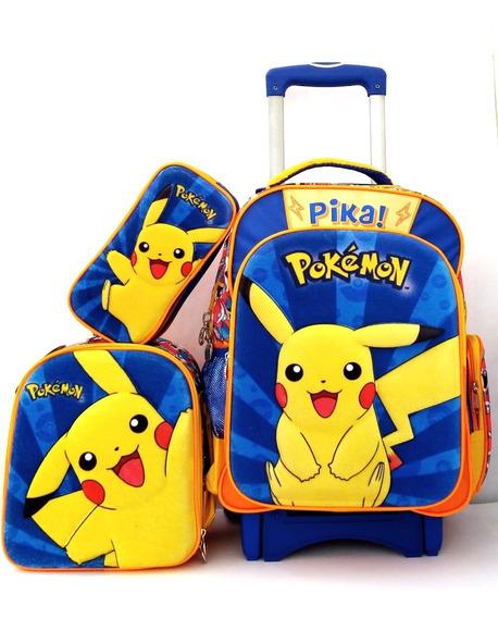 Mochila Pokémon Pikachu 3d Primaria Con Carro Lonch Y Lap