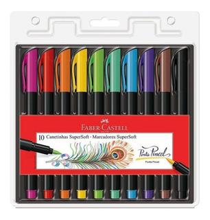 Canetas Brush Pen Faber Castell 10 Cores Supersoft Pincel