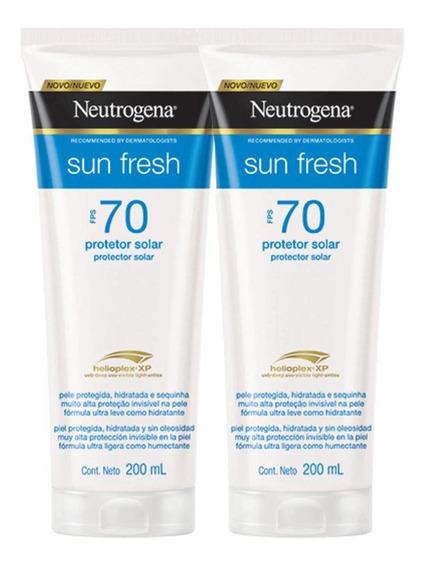 Kit 2 Protetores Neutrogena Sun Fresh Corpo Fps 70 200 Ml