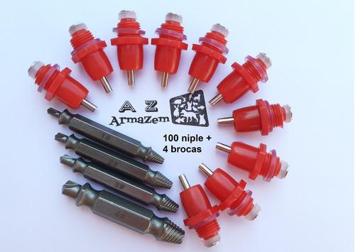 Kit 100 Unidades Bebedouro Automático Tipo Niple + Kit De Brocas Para Fazer Rosca