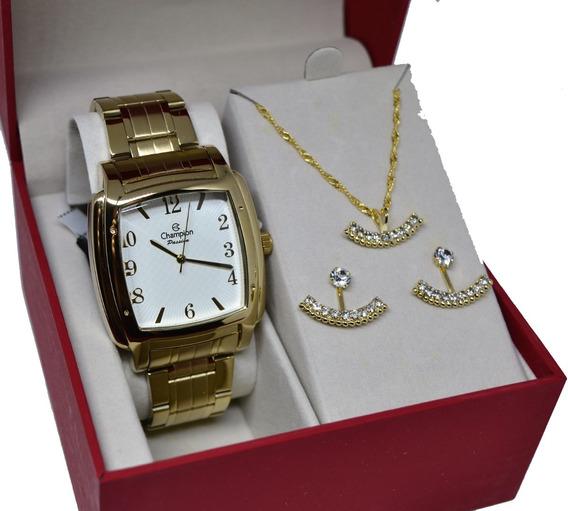 Relógio Champion Feminino Quadrado Grande + Kit Semi Joias