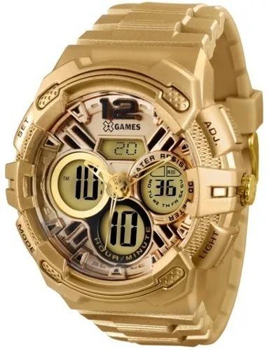 Relógio X Games Masculino Dourado Esportivo Digital Com Nf