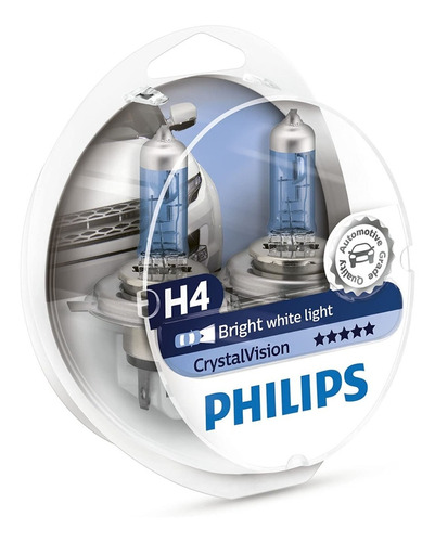 Imagen 1 de 6 de Lámpara Philips Crystal Vision H4 12v 60-55w P43 Pack 2+2