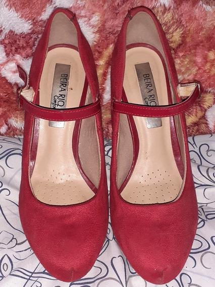 Sapato Em Camurça Vermelha