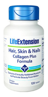 Hair, Skin & Nails Collagen Plus 120 Tablets Life Extension