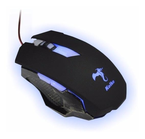 Mouse Gamer Macro Base Semi Metálica 3200dpi Kolke Kmg-504