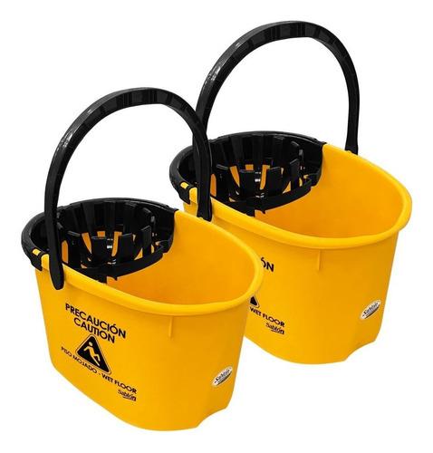 2 Pack Cubeta Con Exprimidor 17l Amarilla Con Impresión