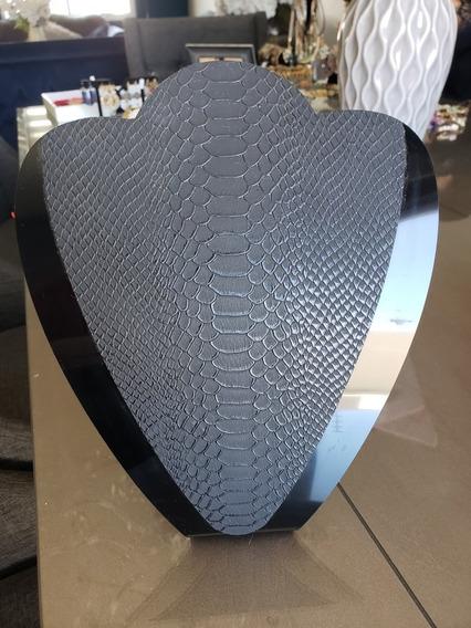 Lote De 6 Cuellos Para Collar Negros Con Textura Piel