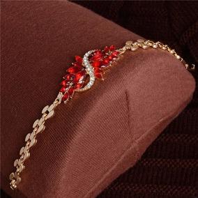 Pulseiras Jóias Banhado Ouro De Cristal Cor Vermelha