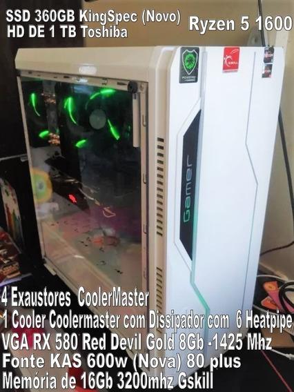 Pc Gamer Ryzen 5 1600/rx580 8gb Red Devil Gold/16gb 3200mhz