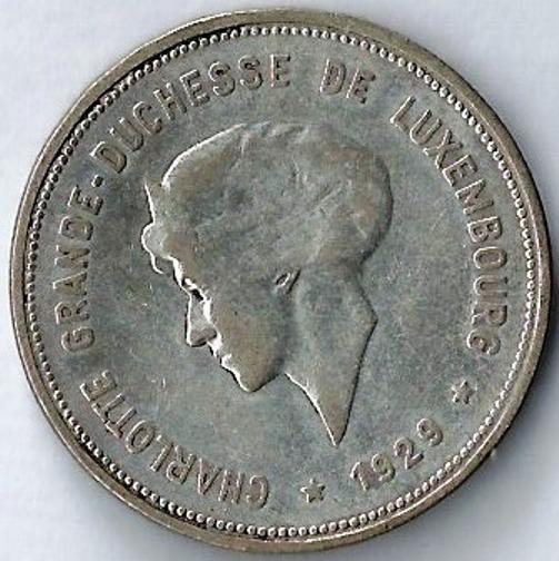 Luxemburgo 1929 5 Francos Moneda De Plata Unico Año Xxz087