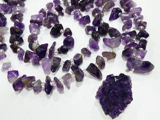 Colar Japamala 108 Pedras Ametista Naturais C/drusa Comprido