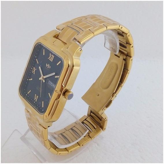 Relógio Feminino Vip Mh6244 Dourado Ouro Quadrado Original