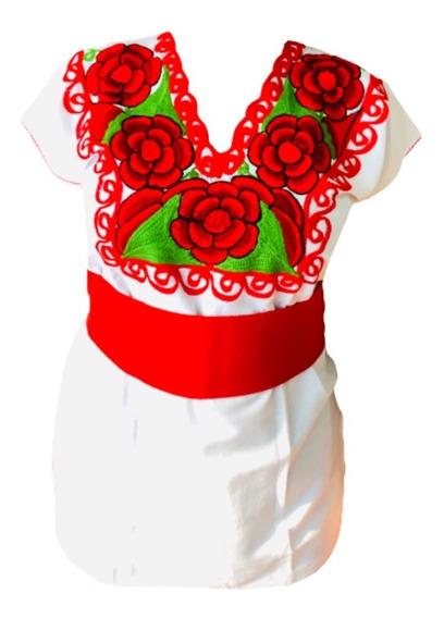 Blusa Mexicana Artesanal Bordada Flores Manta